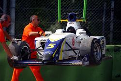 The crashed car of Alex Brundle