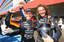 Race winners Bert Longin and James Ruffier celebrate