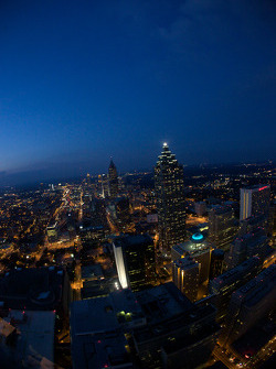 Aerial view of downtown Atlanta by night