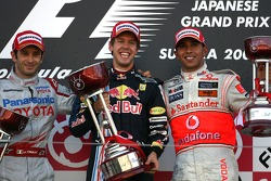 Podium: race winner Sebastian Vettel, Red Bull Racing, second place Jarno Trulli, Toyota F1 Team, third place Lewis Hamilton, McLaren Mercedes