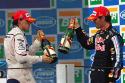 Podium: race winner Mark Webber, Red Bull Racing, second place Robert Kubica, BMW Sauber F1 Team