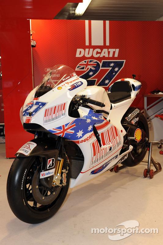 A special paint scheme on the bike of Casey Stoner, Ducati Marlboro Team for the Australian GP ...