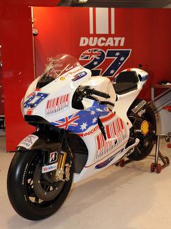 A special paint scheme on the bike of Casey Stoner, Ducati Marlboro Team for the Australian GP