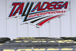 Talladgea Superspeedway signs above tires