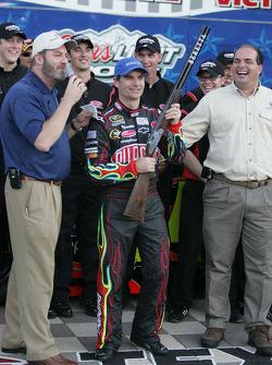 Jeff Gordon is presented the $40,000 Bretta Shotgun for winning the pole at Texas Motor Speedway