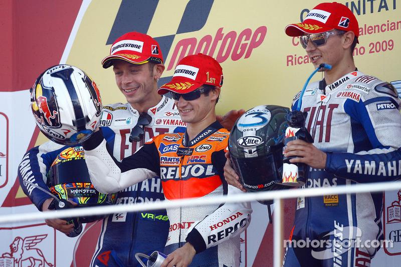 2009: 1. Dani Pedrosa, 2. Valentino Rossi, 3. Jorge Lorenzo
