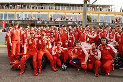 F1 exhibition: Luca Badoer, Felipe Massa, Marc Gene and Scuderia Ferrari team members pose