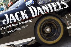 The rear tire spins on the Richard Childress Racing Chevrolet