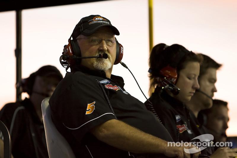 Tony Eury Sr. looks on after his driver Brad Keselowski was spun by Denny Hamlin