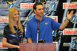 Four-time NASCAR Sprint Cup Champion Jimmie Johnson, Hendrick Motorsports Chevrolet, and his wife Chandra speak with students at his alma mater, Crest Elementary School in El Cajon, California
