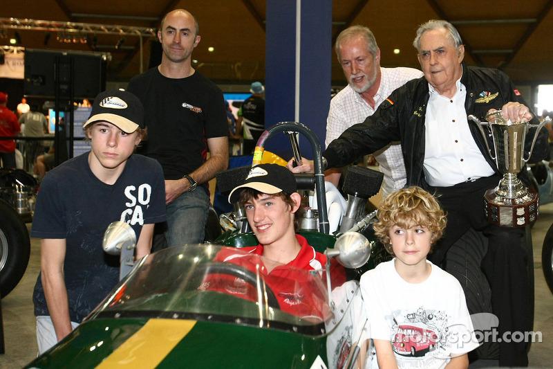 Three time Formula One World Championship Sir Jack Brabham with David Brabham and sons in celebration of Sir Jack Brabham's first of Formula One World Championship