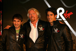 Timo Glock, driver with Sir Richard Branson, Chairman of the Virgin Group and Lucas di Grassi, driver