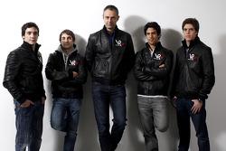 Alvaro Parente, test driver, Timo Glock, driver, Nick Wirth, Virgin Racing Technical Director, Lucas di Grassi, driver, and Luiz Razia, test driver