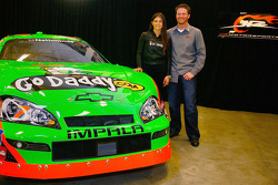 JR Motorsports driver Danica Patrick and JR Motorsports co-owner Dale Earnhardt Jr. stand next to the No. 7 NASCAR Nationwide Series GoDaddy.com Chevrolet