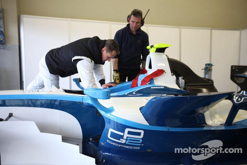 Michael Schumacher tests a GP2 car