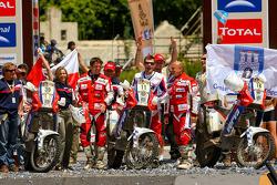 Motorfiets podium: Marek Dabrowski, Jakub Przygonski en Jacek Czachor