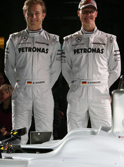 Nico Rosberg and Michael Schumacher