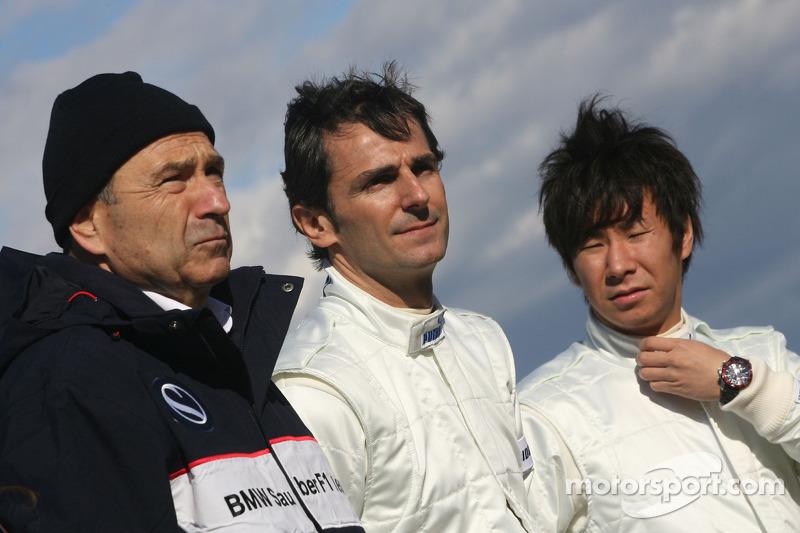 Peter Sauber, Directeur d'écurie, Pedro de la Rosa, BMW Sauber F1 Team et Kamui Kobayashi, BMW Sauber F1 Team