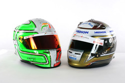The helmets of Vitantonio Liuzzi Force India F1 and Adrian Sutil Force India F1