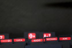 Names in the Ferrari pit box