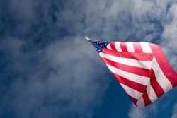 An American flag waves