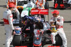 Jenson Button, McLaren Mercedes, Mark Webber, Red Bull Racing, Lewis Hamilton, McLaren Mercedes