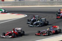 Felipe Massa, Scuderia Ferrari leads Lewis Hamilton, McLaren Mercedes, Nico Rosberg, Mercedes GP, Michael Schumacher, Mercedes GP