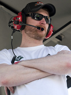 Dale Earnhardt Jr. watches race action