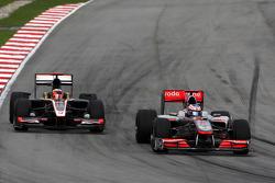 Jenson Button, McLaren Mercedes, Karun Chandhok, Hispania Racing F1 Team