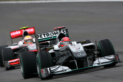 Michael Schumacher, Mercedes GP leads Lewis Hamilton, McLaren Mercedes