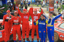 Second place, Gaurav Gill with co-driver Glen Macneall, Winner, Katsu Taguchi with co-driver Mark Stacey ,Third place, Rifat Sungkar with co-driver Scott Beckwith