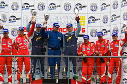 LMGT2 podium: class winners Marc Lieb and Richard Lietz, second place Gianmaria Bruni and Jaime Melo, third place Giancarlo Fisichella, Toni Vilander and Jean Alesi