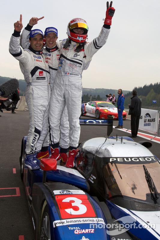 Race winnaars Pedro Lamy, Sébastien Bourdais en Simon Pagenaud