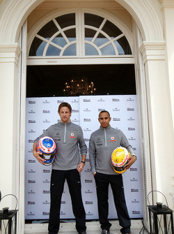 Jenson Button, McLaren Mercedes, Lewis Hamilton, McLaren Mercedes, Monaco editiion helmets and steering wheels with Steinmetz Diamonds