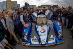 #1 Team Peugeot Total Peugeot 908 is pushed to scrutineering
