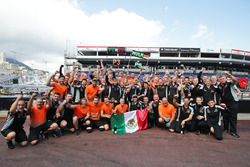 The Sahara Force India F1 Team celebrate third position for Sergio Perez, Sahara Force India F1 and sixth for Nico Hulkenberg, Sahara Force India F1