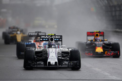 Valtteri Bottas, Williams FW38, leads Max Verstappen, Red Bull Racing RB12, and Pascal Wehrlein, Manor MRT 05