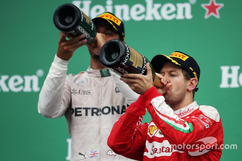 Sebastian Vettel, Ferrari, podyumda