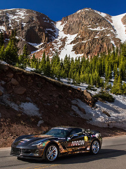 Sam Schmidt drives a Chevrolet Corvette up Pikes Peak
