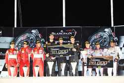 Overall podium: winners #58 Garage 59 McLaren 650S GT3: Rob Bell, Come Ledogar, Shane van Gisbergen, second place #50 AF Corse Ferrari 488 GT3: Pasin Lathouras, Michele Rugolo, Alessandro Pier Guidi, third place #3 Belgian Audi Club Team WRT Audi R8 LMS: J