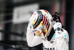 Lewis Hamilton Mercedes AMG F1 celebrates his pole position in parc ferme