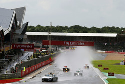 lh Lewis Hamilton, Mercedes AMG F1 W07 Hybrid leads behind the FIA Safety Car