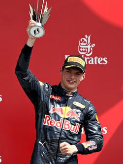 Макс Ферстаппен, Red Bull Racing RB12, святкує подіум