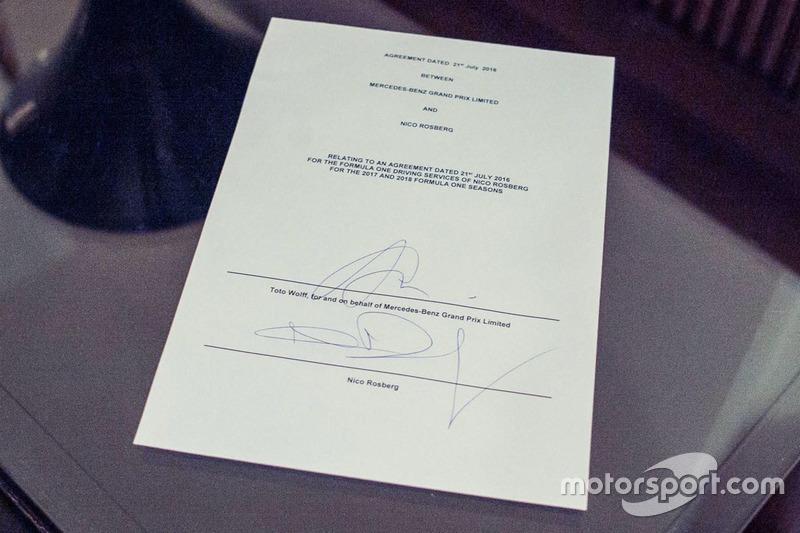Le contrat de Nico Rosberg, Mercedes AMG F1 pour les saison 2017 et 2018