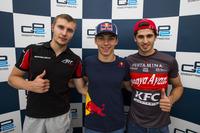 Пьер Гасли, PREMA Racing; Сергей Сироткин, ART Grand Prix, и Антонио Джовинацци, PREMA Racing
