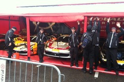 Start of a rainy day for the Auto Gallery Motorsports crew