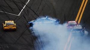 2013 Daytona 500 Kyle Busch spins Kasey Kahne