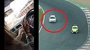 Kid drives onto track during Brands Hatch race