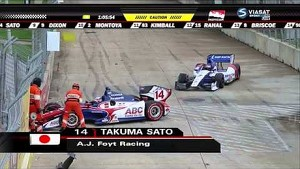 Sato and Aleshin crash - 2014 IndyCar GP of Houston