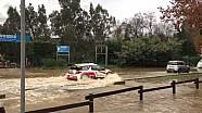 Sébastien Loeb drives his Citroën DS3 through water